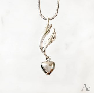 Stainless Steel Heart and Wing Cremation Pendant