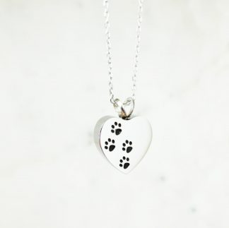 Paw Heart Cremation Necklace for Pets