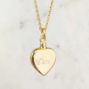 9K Gold Heart Cremation Necklace For Ashes with dad engraving