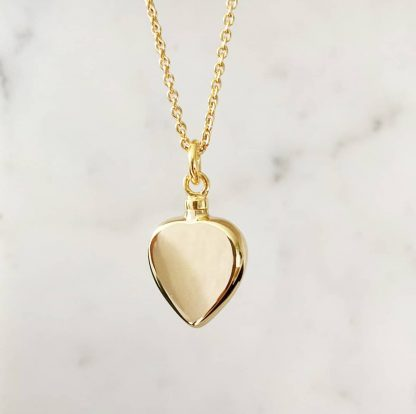 Gold Cremation Heart pendant for ashes with gold chain