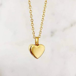 Small Gold Heart Ashes Necklace