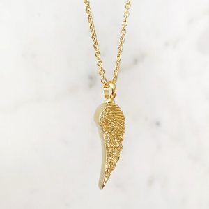 Gold Angel Wing Ashes Pendant on gold chain