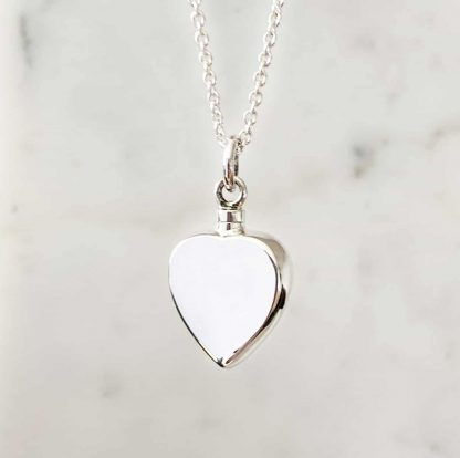 925 Sterling Silver Heart Cremation Ashes Pendant on a silver chain