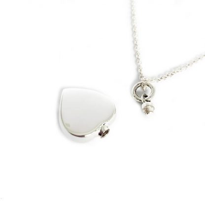 925 Sterling Silver Heart Cremation Necklace with screw cap on chain