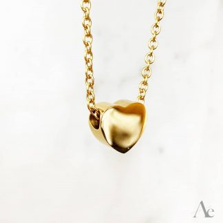 Small Gold Heart Urn Pendant with chain