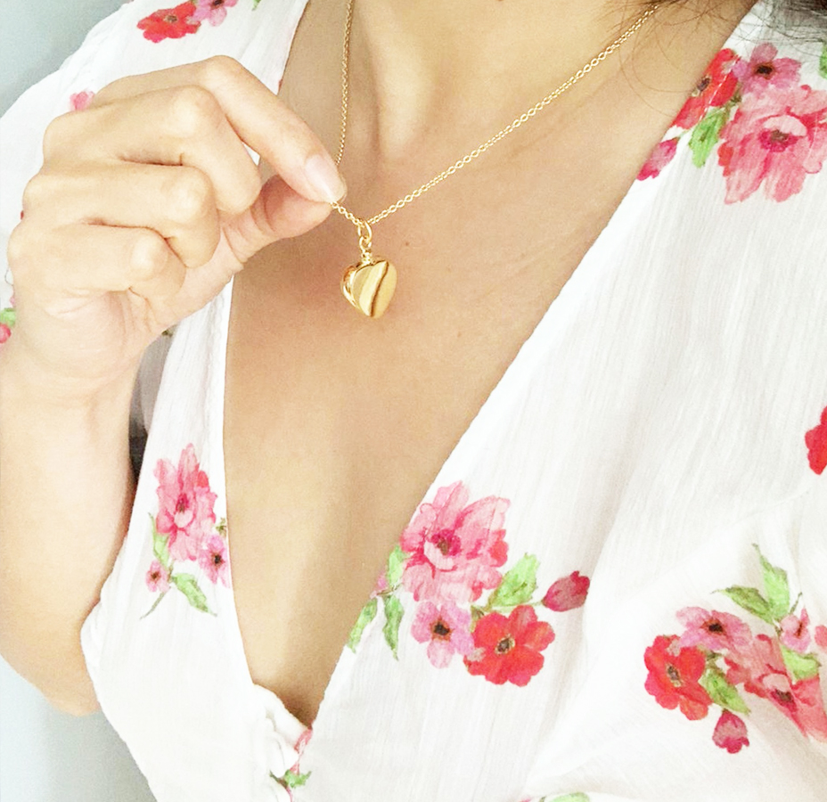 Gold Heart Cremation Pendant