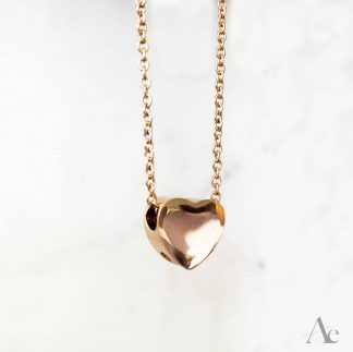 Small Heart Cremation Necklace Rose Gold