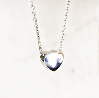 Silver Small Heart Necklace for Ashes