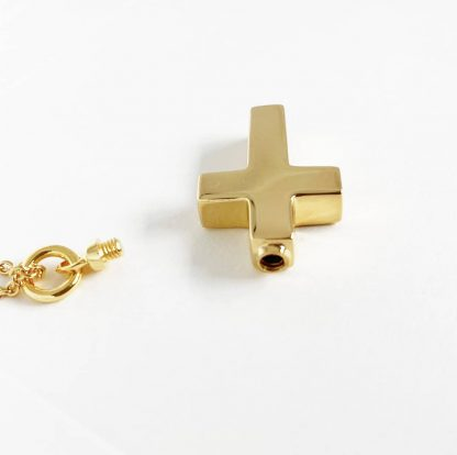 Gold Cross Cremation Necklace with screw cap