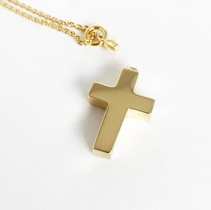 Gold Cross Cremation Necklace chain and screw cap