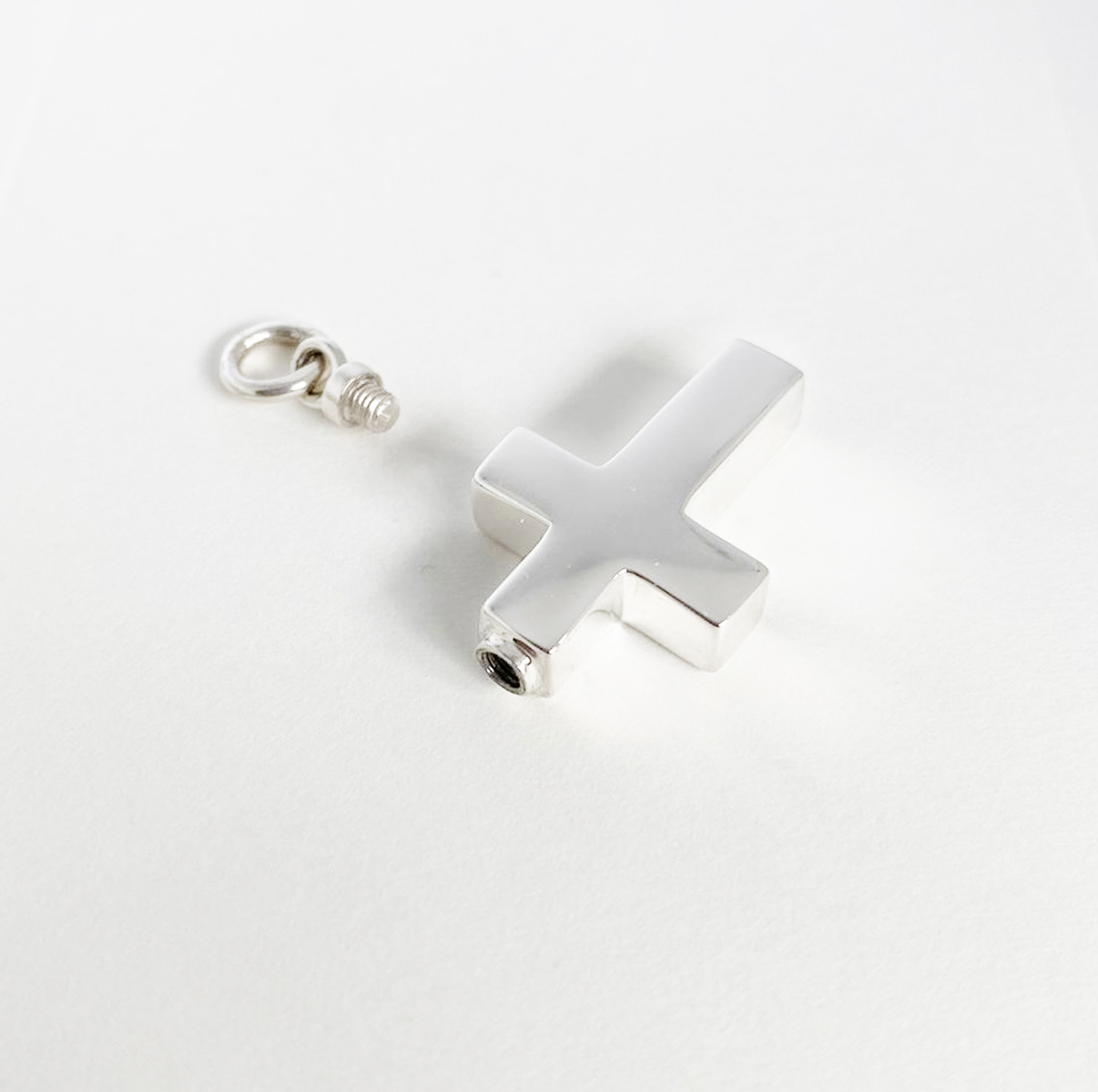 925 Sterling Silver Cross Necklace for Ashes with screw top
