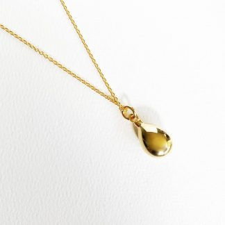 18K Plated Gold Teardrop Necklace for Ashes with gold chain