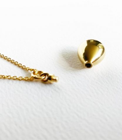 18K gold plated over sterling silver, tear drop shape cremation urn pendant necklace Ash Jewellery