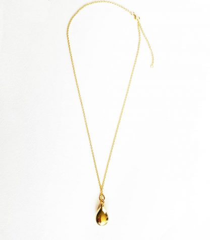 18K gold plated over sterling silver, tear drop shape cremation urn pendant necklace Cremation Jewellery
