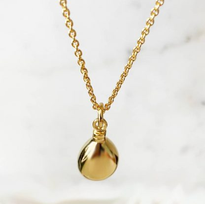 18K Plated Gold Teardrop Necklace for Ashes on gold chain